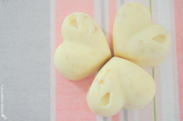 Bouchées chocolat blanc et gingembre confit