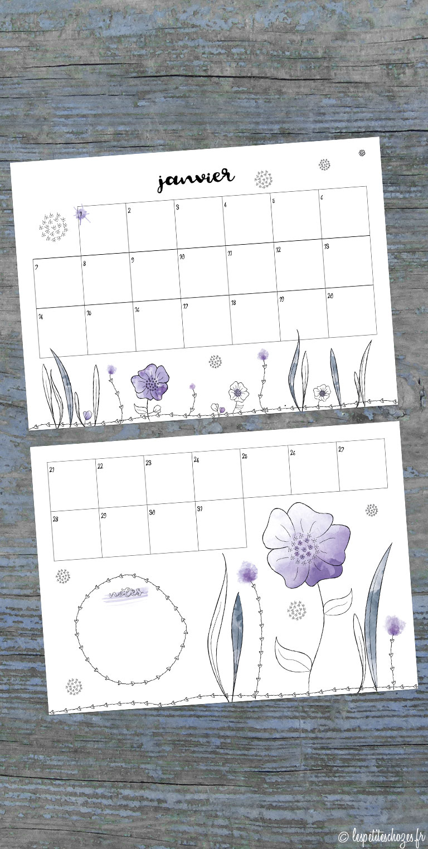 calendrier familial 2019 aquarelle Les petites chozes